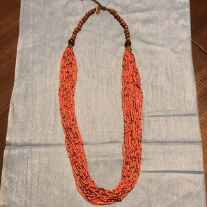 EUC~ WOODEN AND SEED BEAD ZAD NECKLACE